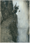 The original 1893 artwork by Sidney Paget depicting Holmes and Professor Moriarty fighting over the Reichenbach Falls sold at a Sotheby's auction in 2004 for $220,800.