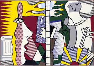 """Untitled Composition (Figures with Sunset),"""" Roy Lichtenstein (1977, estimate: $2.5-$3 million)."""