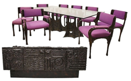 """This Paul Evans (American, 1931-1987) 10-piece sculpted bronze dining suite, made in 1970 featuring Stalagmite glass-top dining table, set of eight dining chairs with purple micro-suede seats and backrest; sideboard with two slate tablets and bi-fold doors concealing interior shelves. Signed """"PE 70."""" Offered as three lots, total selling price: $59,225. Image courtesy of Austin Auction."""