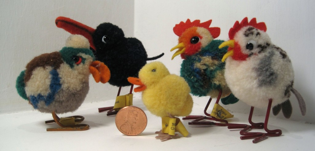 An assortment of Steiff woolie birds, most from the 1950s and early '60s. The tiny duck up front is 4 centimeters; she is from the late 1960s or early '70s and one of the smallest Steiff items to sport a Steiff button.