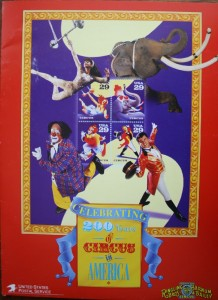 This Postal Service media kit has the Ringling Bros. and Barnum & Bailey logo side-by-side with the U.S. Postal Service logo. On the cover of the kit, the photos by each of the stamps feature actual Ringling Bros. and Barnum & Bailey performers—aerialist Fatima, the elephant King Tusk, clown Greg DeSanto and ringmaster Jim Ragona.