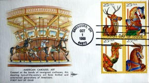 The first set of carousel stamps had illustrations of a deer, an armored horse, a camel and a goat all popular merry-go-round animals. All four stamps are on this cachet which has artwork of a carousel. First day covers are also available of each individual animal with the cachet artwork reflecting that animal.
