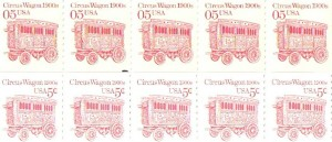 The circus wagon stamp was issued in large coils so you can collect strips of the stamp. These stamps are valued at 7 cents each.