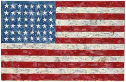 "Jasper Johns' ""Flag,"" sold for $28,642,500 million—a record for the artist at auction—in a sale of the late author Michael Crichton's collection, facilitated by Christie's on May 11, 2010."