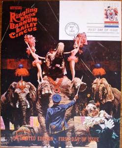 Even Ringling Bros. and Barnum & Bailey got into the act by printing this oversized card and an envelope with the same artwork to feature the first day cover of the circus stamp.