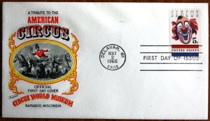 This is just one of the numerous envelope designs used for a first day cover of the circus stamp. There are dozens of different designs.