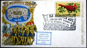 The Fourth of July Circus Parade in Milwaukee was an annual event for many years. The cachet on this envelope indicates it was carried on the Circus Train.