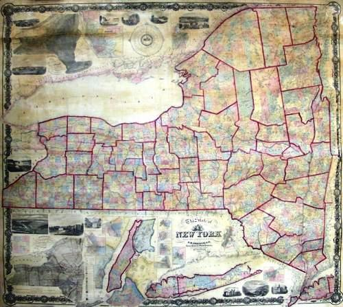 A map of New York State published by Robert Pearsall Smith of Philadelphia in 1860, purchased for $90 at a yard sale.