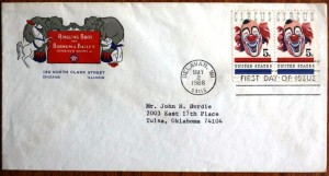 The post service gives instructions that allow you to send your own envelope or postcard and receive it back with a first day cancel. This can result in many variations and often a one of a kind FDC. The only cost of these covers is the cost of the postage. This FDC was created using an old engraved Ringling Bros. and Barnum & Bailey envelope with the Chicago office address.