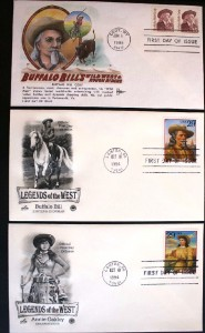 These three FDCs show the two Buffalo Bill stamps and the Annie Oakley stamp. Individual stamps like these and even envelopes with first day of issue cancels are worth $1 or less.