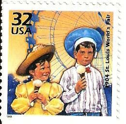 The ice cream cone was popularized at the St. Louis World's Fair as shown on this postage stamp. A Ferris wheel is in the background.
