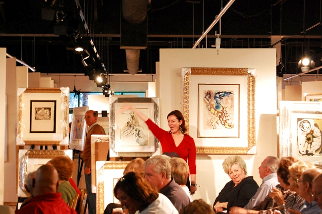 More than 300 interested bidders packed the new Baterbys gallery in Delray Beach in February. Baterbys Art Auction Gallery recently won the 2010 Best of Show award for Advertising and Public Relations by the National Auctioneers Association.