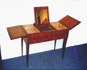 The name Beau Brummel is associated with the French form of the poudreuse, a style of dressing table from the 18th century.
