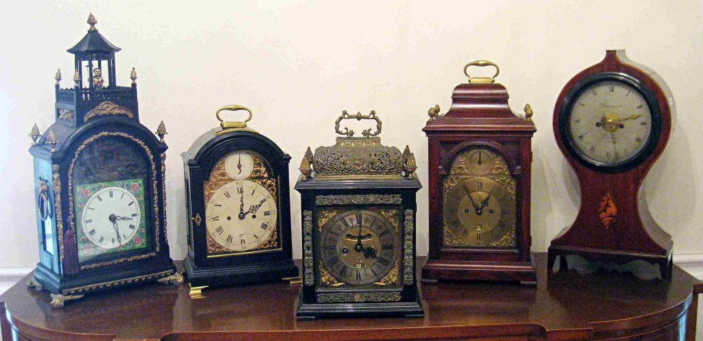 An assortment of English table (or bracket) clocks will come under the gavel in an antique clock sale to be hosted by Gordon S. Converse & Co. on June 18, 2010.