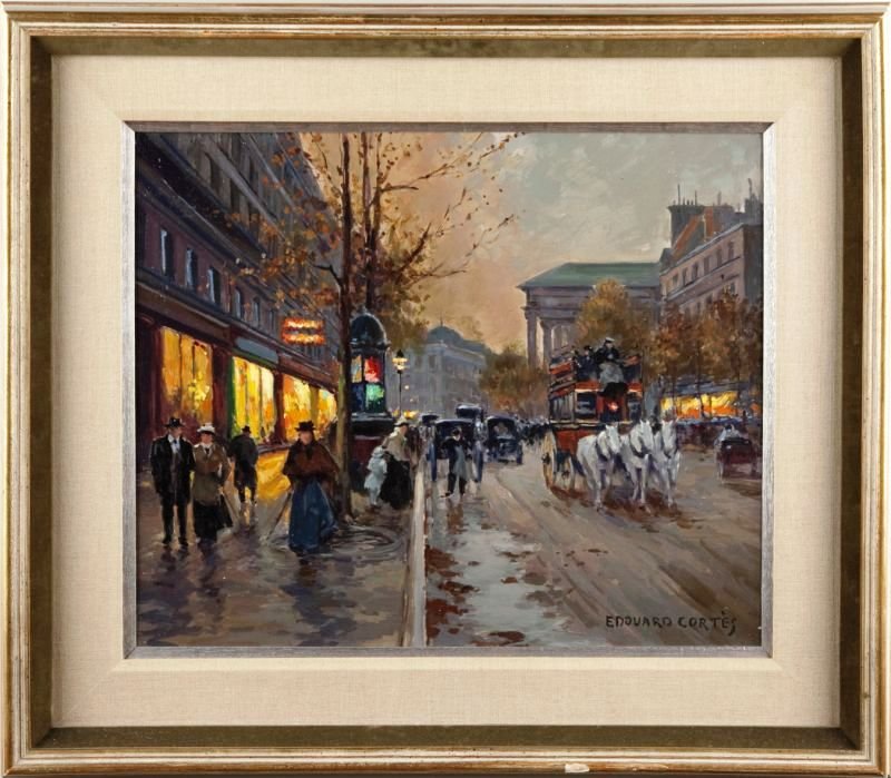 This original oil on canvas Paris street scene by renowned French artist Edouard Cortes led the two-session Fine & Decorative Arts Catalog Auction, held June 19, 2010 by Leland Little Auction & Estate Sales, Ltd., sold for $34,500.