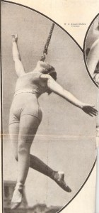"This photo of Charlotte Shive performing the Iron-Jaw act appeared in an article about the circus in the May 23, 1931 issue of ""Colliers"" magazine. The famous aerialist Lillian Leitzel called this a ""tooth act."""