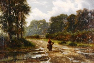 "An oil on canvas painting by Charles Henry Passey, titled ""The Lane, Faldey, Surrey,"" will be auctioned."