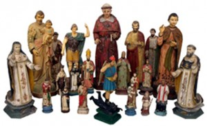 Examples from a selection of more than 40 antique French colonial religious statues from the Whit Hanks collection. Photo courtesy Austin Auction Gallery.