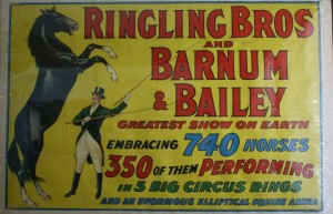 Ringling Barnum poster advertising the large number of horses traveling with the show.