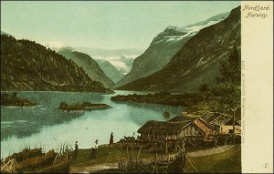 This lovely pre-1920 scenic view of a Norwegian fjord is worth just 50 cents to $2, as, most likely, this fjord looks the same today.