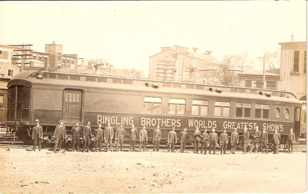 This real photo postcard shows an Advertising Car for Ringling Bros. World's Greatest Shows. The year is prior to 1919 when Ringling Bros. was combined with Barnum & Bailey. There were 22 men assigned to this car.