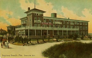 A pre-1915 look at the Seaside Inn in Daytona Beach, FL, showing a horse-drawn carriage.  Daytona Beach doesn't look anything like this today, and this card is worth $6-$8.
