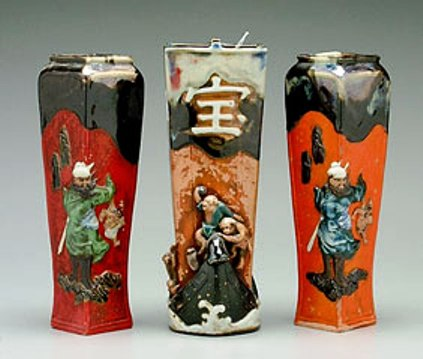 "Examples of 19th-century Japanese export pottery called ""Sumida ware."""