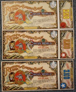 "In 1973 Ringling Bros. and Barnum & Bailey opened their Circus World theme park in Central Florida. The tickets were designed to be collectible. In fact the words ""Collector Series Ticket"" appeared on the large stub that was retained upon entry. Tickets with stubs sell for about $5 each."