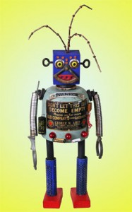 One of 10 Kent Greenbaum-designed folk art robots, each unique and constructed from spare toy parts, hardware and other offbeat fragments, will be sold at a July 17, 2010 auction hosted by Old Town Auctions. (Old Town Auctions image)