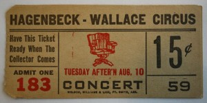 The Concert was also called the Aftershow. It was a performance after the main show ended. The public was charged an additional fee, in this case 15 cents, to remain in their seats and watch the performance. In the 1920s the Hagenbeck-Wallace Circus had a Concert that featured Wild West performers and American Indians. Value of this ticket is $10-15.