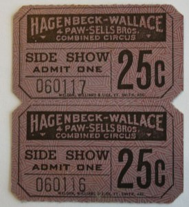 The Side Show was separate from the main circus performance under the Big Top. It featured human oddities like the giant and the midget family and other attractions such as the sword swallower, snake charmer, magician, etc. This 25-cent ticket gained admission to the Hagenbeck-Wallace Side Show. Value is $10-15.
