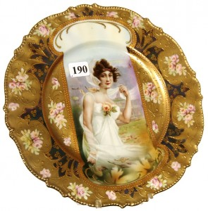 R.S. Prussia 8 ¾-inch mold #343 keyhole plate with fall season portrait décor.