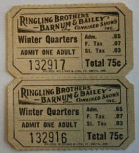 Ringling Bros. and Barnum & Bailey's Sarasota Winter Quarters was a major Florida attraction during the winter months. Value of this ticket is $10-15.