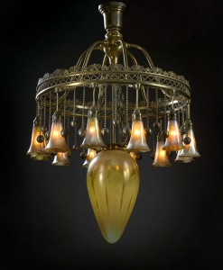 This a very rare Tiffany Moorish Chandelier with pulled feather and lily lights brought an astounding $59,800 (including the buyer's premium) at an October 6, 2006 auction.