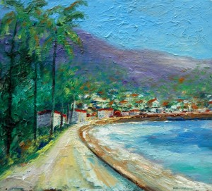 "Original oil on canvas work by William (Vincent) Kirkpatrick, titled ""Village by the Sea,"" will be among the 35 works shown in the exhibition ""William Vincent Kirkpatrick: American Impressionist."""