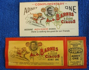 Two different types of passes to the Al G. Barnes Big 4 Ring Wild Animal Circus feature a colorful illustration of a lion riding a horse. Value $15-20 each.