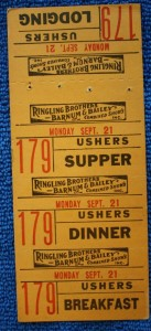 Workers on the show were given books of tickets to be used for meals and lodging. This strip of tickets was for an usher to use on Monday, September 21, 1953. There was a perforation between each ticket. Value for a complete strip is $15-20.