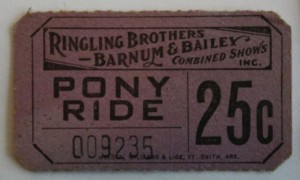 Even something as simple as a pony ride required a ticket. Value is $5-10.