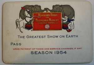 This annual pass for the 1944 season is engraved on heavy cardstock. It was not limited to date or location. The back says to notify the Office Wagon which performance you wish to attend, so that reservation can be made. Value $10-15.