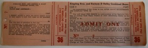 The recipient of this pass could redeem it for a ticket for the October 3, 1947 matinee performance of Ringling Bros. and Barnum & Bailey. As stated on the pass, the owner of the property agrees to let Ringling Bros. or their agents tack cloth banners on their premises. The pass was issued by advanced agents who were assigned to advance car No. 3. Value is $5-10.