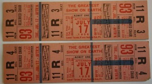 "These tickets are a sad reminder of a performance that was never held. They are reserved seat tickets for the July 17, 1956 matinee of Ringling Bros. and Barnum & Bailey. Unfortunately, the show gave its final big top performance the night before in Pittsburgh, Pa. John Ringling North announced ""The tented circus as it exists today is, in my opinion, a thing of the past."" Value is $40-50 per ticket. Many other 1956 tickets with different dates regularly show up for auction and bring $15-25."