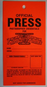 In more recent years, newspaper photographers and television video crews were given passes like these to shoot photos and video on the arena floor. The round pass was a sticker.