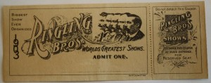 Ringling Bros. World's Greatest Shows issued this pass in 1903 before Ringling combined with Barnum & Bailey in 1919. A similar Ringling Bros. pass for the year 1905 sold in an online auction in 2007 for $77.50.