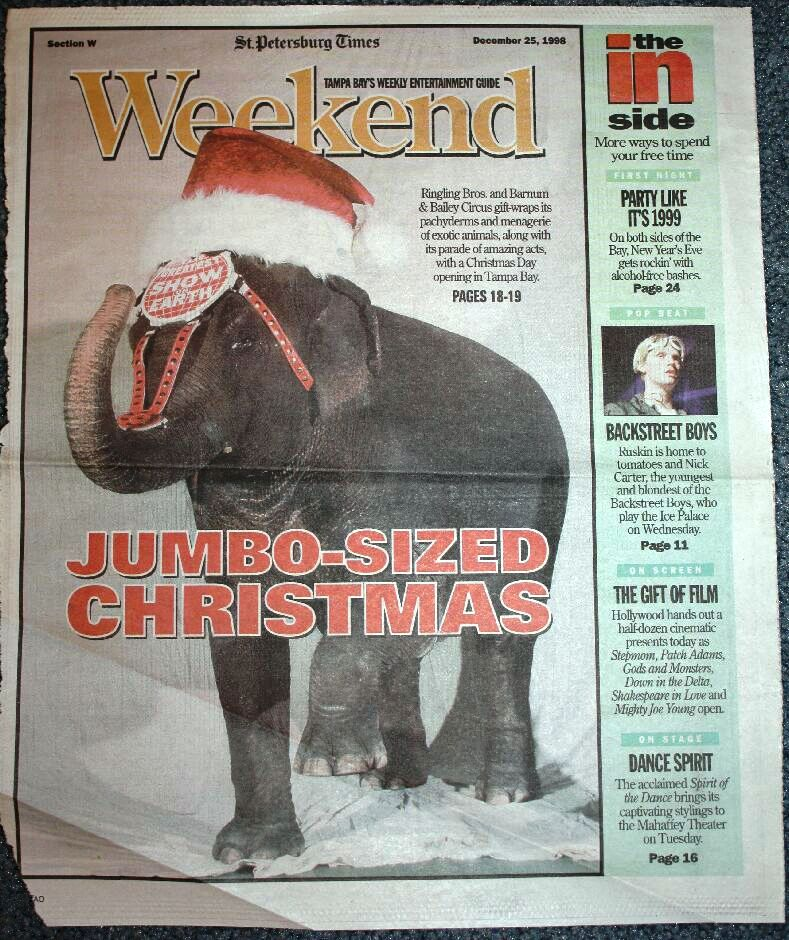 Asia the elephant appeared on the cover of the Christmas Day, December 25, 1998 issue of Weekend, the entertainment section published by the St. Petersburg Times.