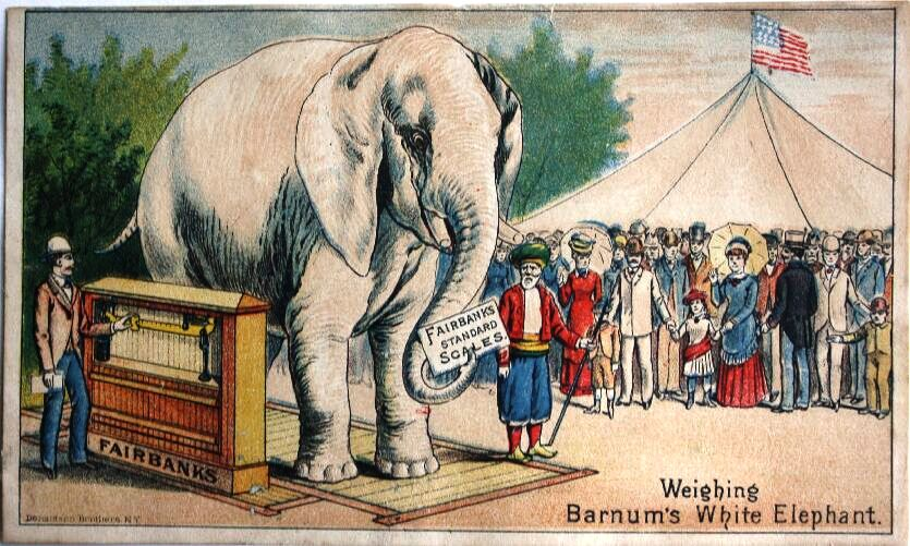 Fairbanks & Company, manufacturer of scales, issued this trade card showing Barnum's White Elephant being weighed. Value is $25-30.