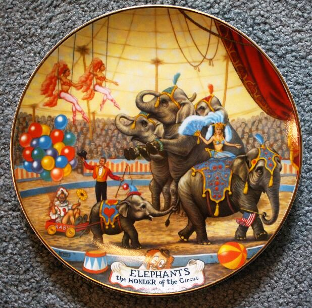 """Collector plates are a very popular licensed Ringling item. The first series, by artist Franklin Moody, was released in 1981. All plates were numbered and came with a certificate. The second plate in the first series was this one entitled """"Elephants—The Wonder of the Circus."""" The original price was around $30 but they can sometimes be found on the internet for less than $5."""
