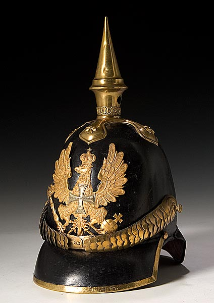 A Prussian Model 1842 reserve infantry officer's spiked helmet, estimated value of $3,000-$5,000. Made of black leather with brass trim and spike and a Prussian eagle front plate. (Photo courtesy of Cowan's Auctions, Inc., Cincinnati, Ohio)