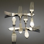 twist-handle coin silver forks