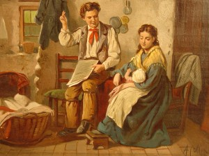 An oil on canvas rendering of an early kitchen scene, signed A. Collin, 15 inches by 18 inches, is among the 600-plus fresh-to-market items up for bid.