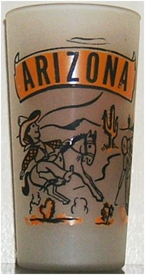 A Hazel-Atlas-produce, Gay Fad-decorated drinking glass for Arizona.